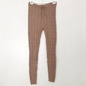 PRIMARK | Mid Rise Tan Cable Knit Lounge Pants